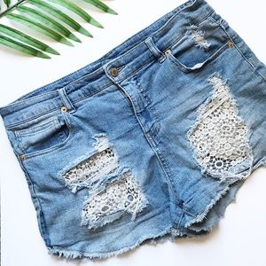 Mossimo - High Rise Lace Pocket Distressed Shorts